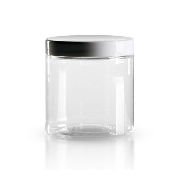 pot vis en pet clair 250 ml avec couvercle blanc pots. Black Bedroom Furniture Sets. Home Design Ideas