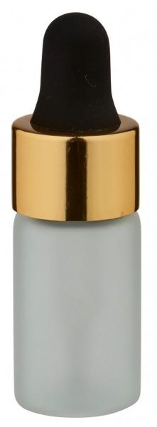 Mini flacon blanc laiteux de 3 ml, avec pipette compte-gouttes PL28 dorée/noire