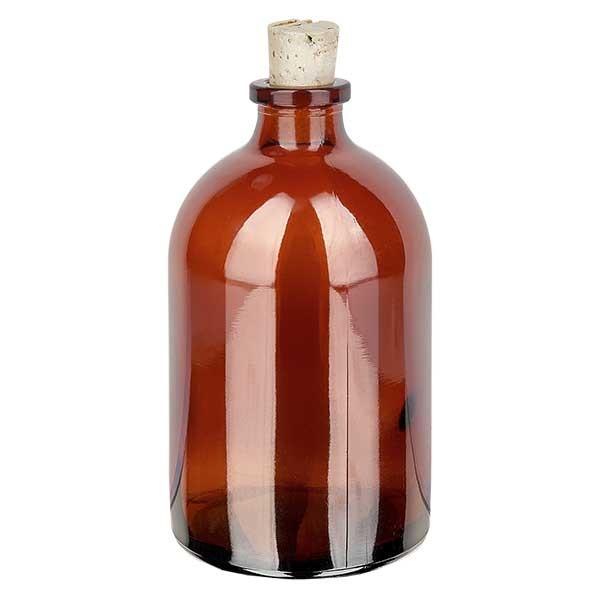 Flacon en verre ambré 100 ml avec bouchon de liège 11/14 mm