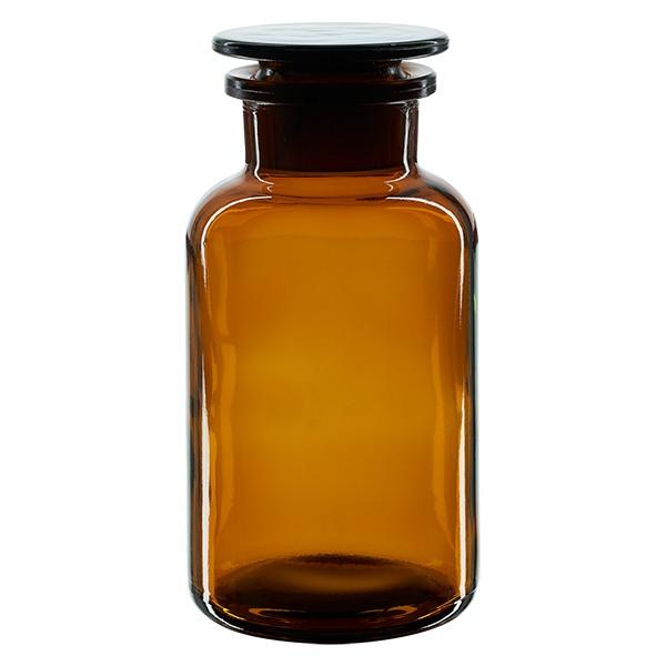 Apothekerflasche 500 ml Weithals Braunglas inkl. Glasstopfen