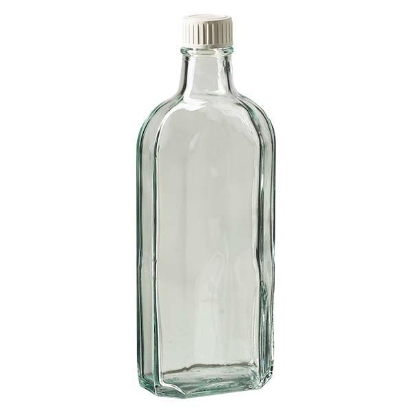 Flasque transparente de 250 ml au goulot DIN 22, avec bouchon à vis DIN 22 blanc en PP et joint mousse en PE