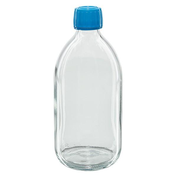 Flacon médical 500 ml couleur claire avec bouchon bleue