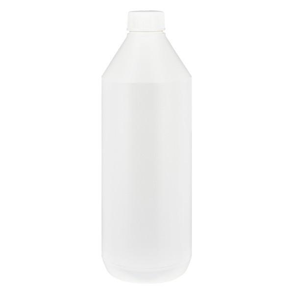 Bouteille à lotion ronde 1000 ml blanche, ND 32, bouchon standard
