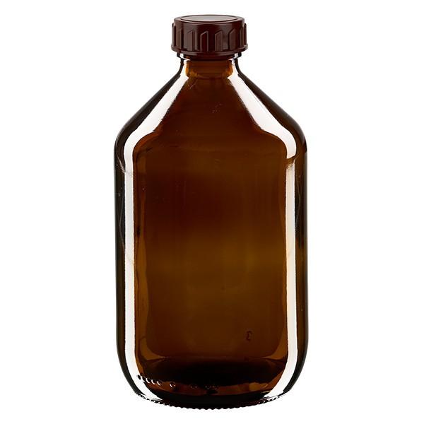 Flacon médical de 500 ml avec bouchon marron