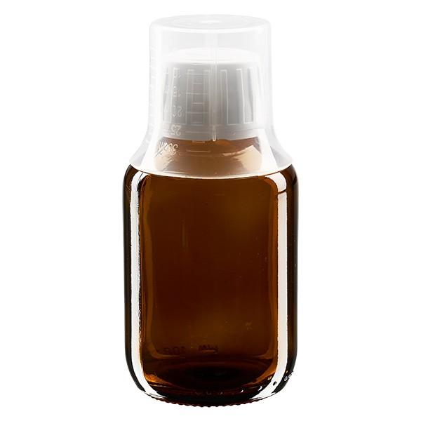Flacon médical norme européenne de 100 ml, avec bouchon à vis blanc et gobelet doseur de 30 ml