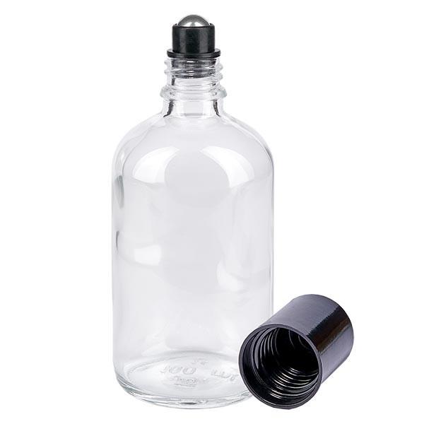 Flacon de déodorant en verre clair 100 ml, déo à bille vide
