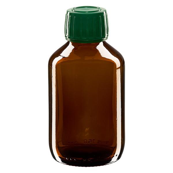 Flacon médical 150 ml couleur ambrée avec bouchon verte