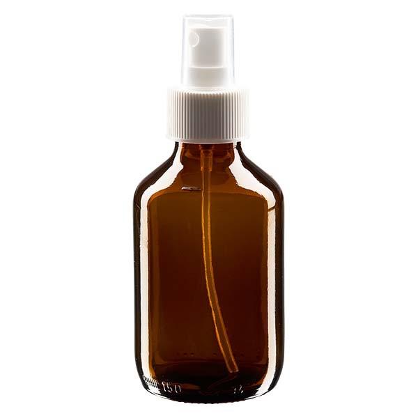 Flacon médical norme européenne de 150 ml avec spray blanc GCMI 28/410 et couvercle transparent, standard
