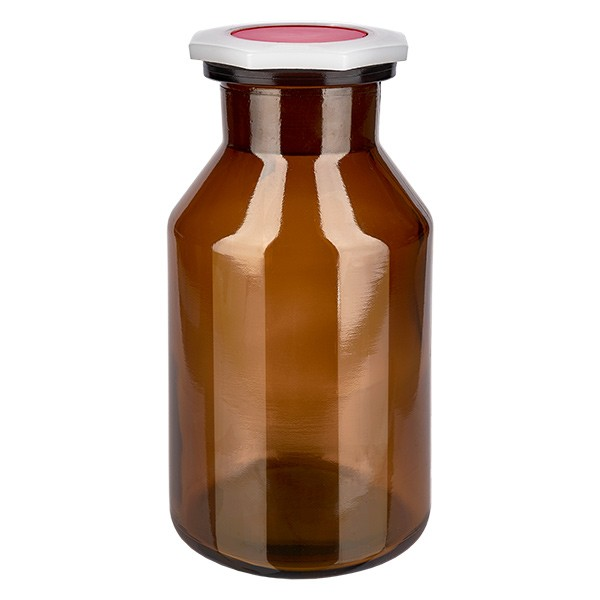 Flacon à col conique et large 500 ml en verre ambré + bouchon RIN PEHD