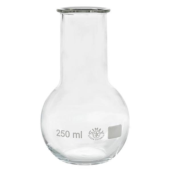 Ballon à fond plat 250 ml à col large, en verre borosilicate avec bord renforcé