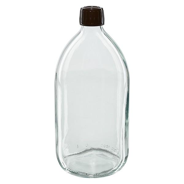 Flacon médical 1000 ml couleur claire avec bouchon marron