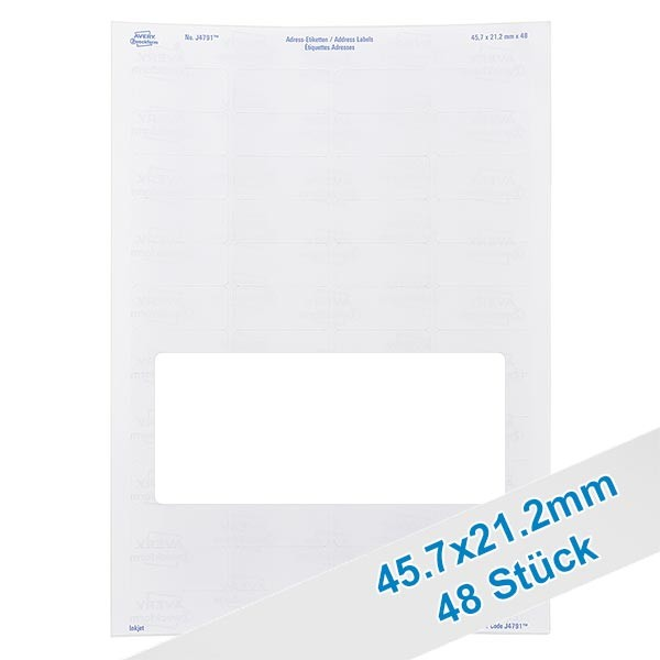 48 étiquettes amovibles blanches, 46x21 mm