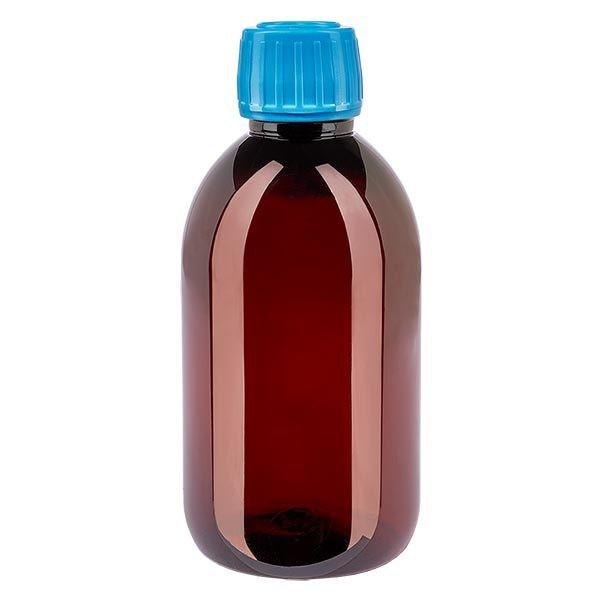 Flacon médical de 250 ml en PET, avec bouchon à vis bleu PP28