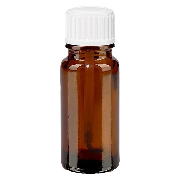 Flacon pharmaceutique ambre 10 ml bouchon à vis blanc pinceau inviolable