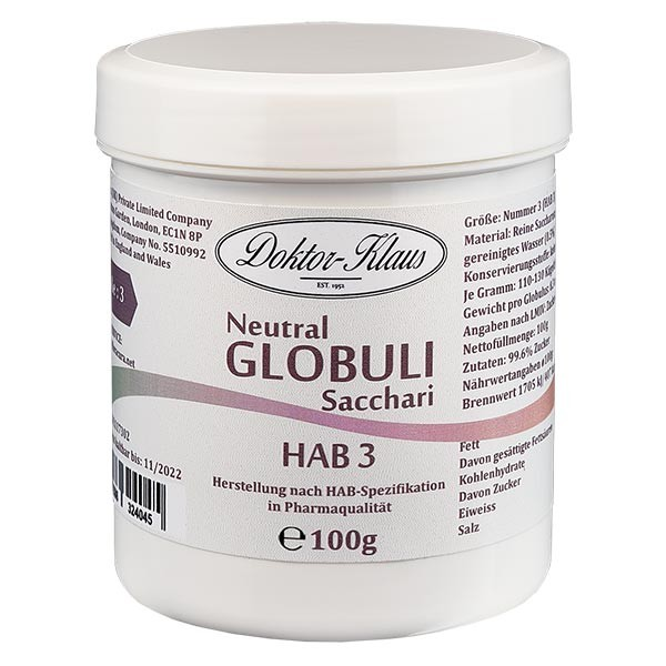 100g globules neutres HAB3, 100 % pure saccharose