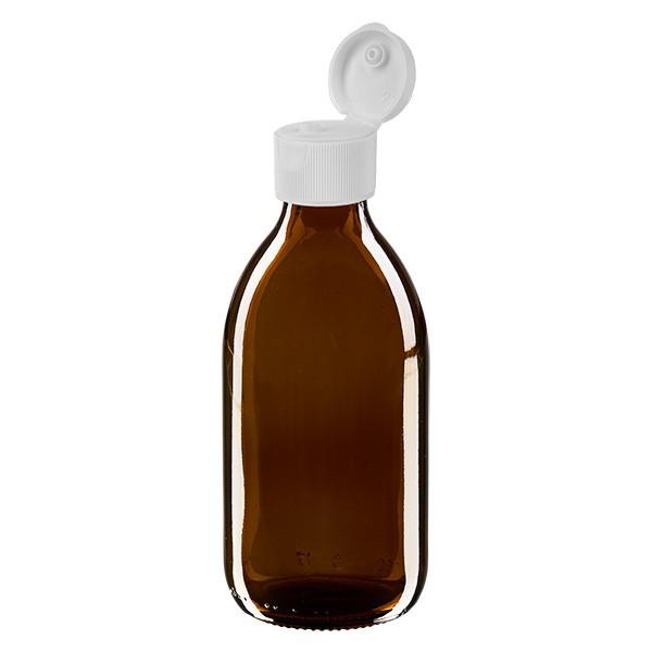 Flacon médical de 250 ml avec couvercle blanc à charnière