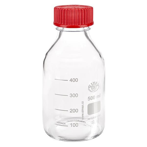 Bouteille à vis de laboratoire 500 ml + bouchon bleu + bague