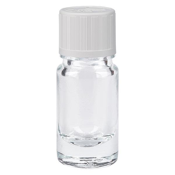 Flacon pharmaceutique clair 5ml bouchon compte-gouttes blanc séc. enf. standard