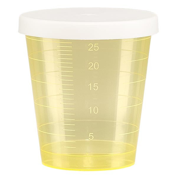 Gobelet à médicaments 30 ml + couvercle à déclic (gobelet pharmaceutique / verre à eau-de-vie) couleur : jaune