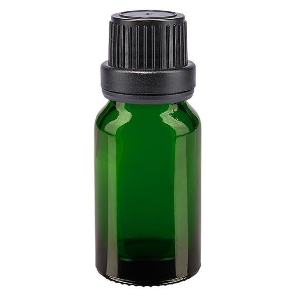 Flacon pharma. vert 10 ml bouch. à vis noir étanche inviol.