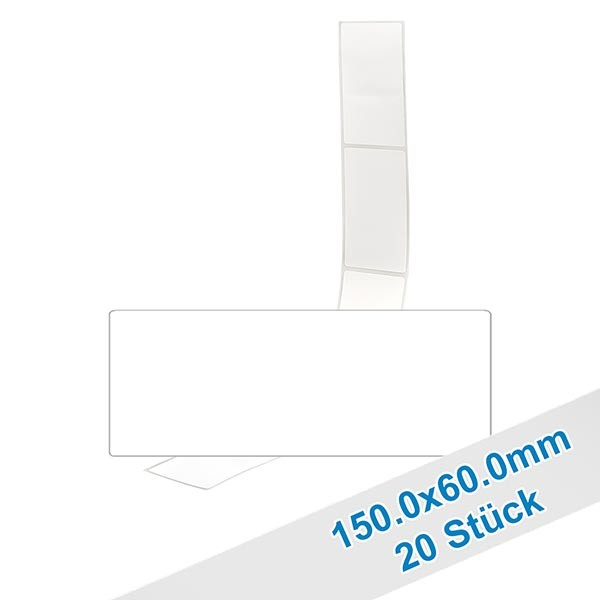 20 étiquettes amovibles blanches, 60x150 mm