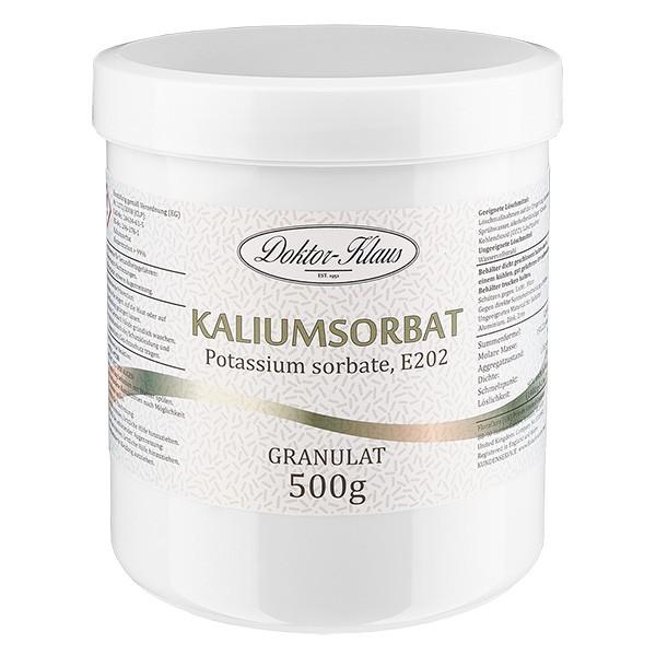 Sorbate de potassium 500 g, en pot avec couvercle à vis blanc