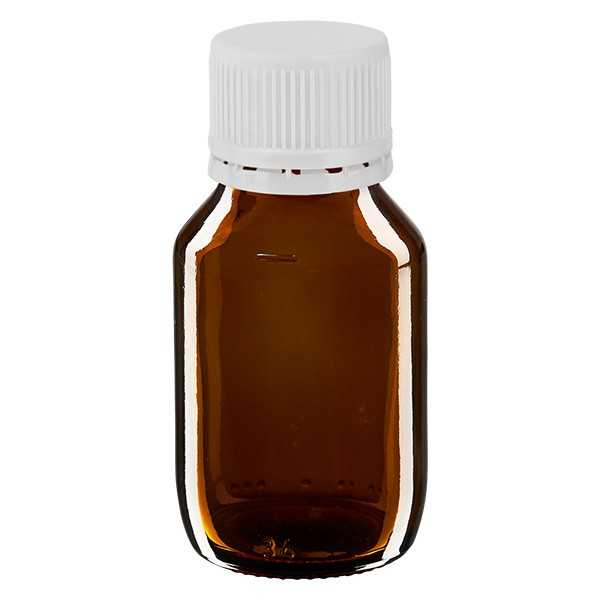 Flacon médical de 50 ml avec bouchon blanc