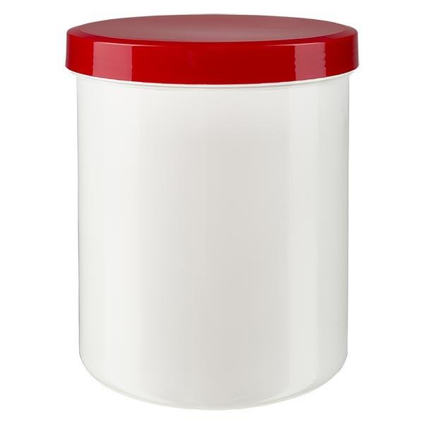 Pot à onguent blanc 1000 g avec couvercle rouge (PP)