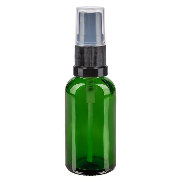 Flacon compte-gouttes vert 30 ml DIN18 avec spray
