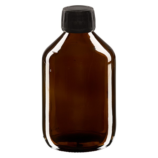 Flacon médical 300 ml couleur ambrée avec bouchon noir
