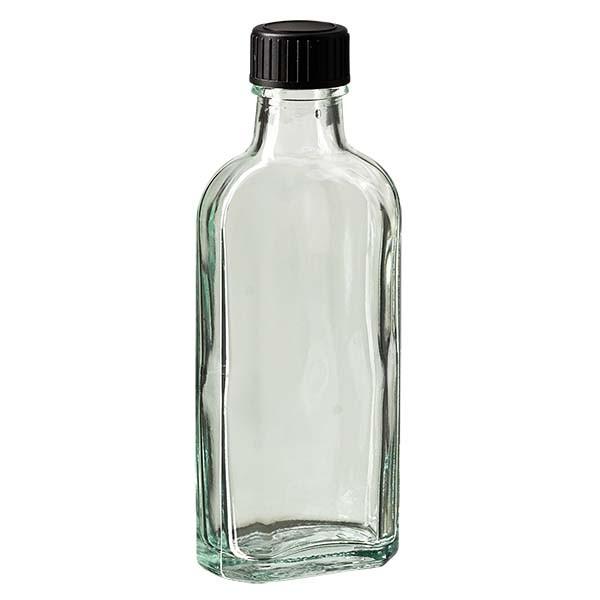 Flasque transparente de 100 ml au goulot DIN 22, avec bouchon à vis DIN 22 noir et joint LKD