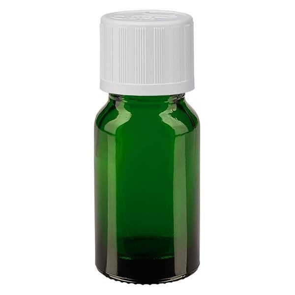 Flacon pharmaceutique vert 10 ml bouchon compte-gouttes blanc séc. enf. standard