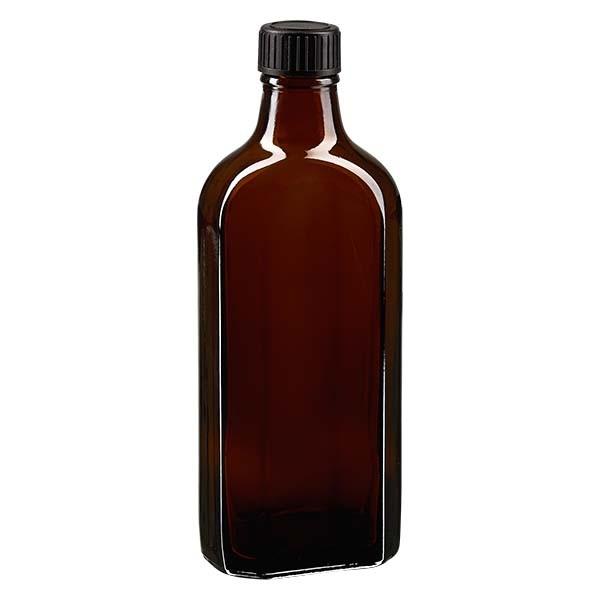 Flasque brune de 200 ml au goulot DIN 22, avec bouchon à vis DIN 22 noir au joint LKD