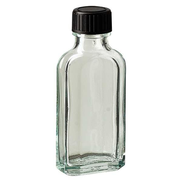 Flasque transparente de 50 ml au goulot DIN 22, avec bouchon à vis DIN 22 noir et joint PEE