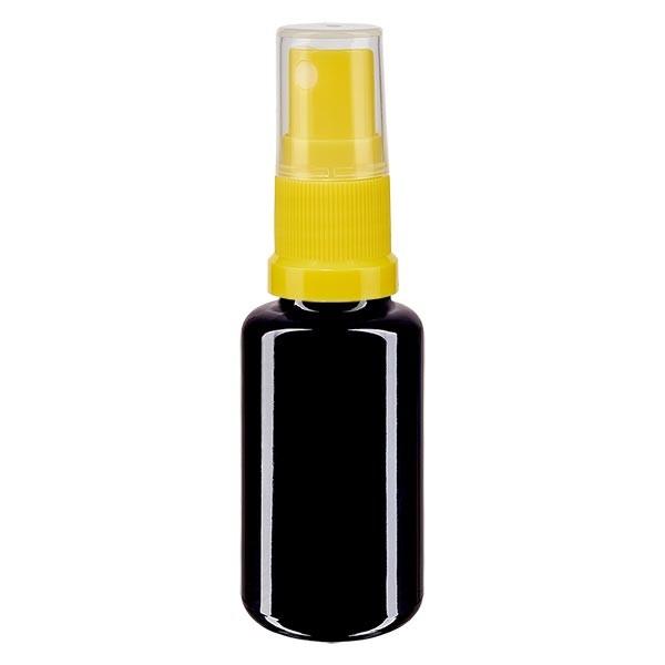 Flacon en verre violet 20 ml DIN18 (verre Miron) avec spray