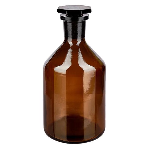 Flacon à col étroit et conique 100 ml en verre ambré + bouchon de verre