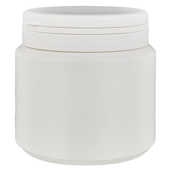 Boîte à comprimés blanche 500ml + Jaycap inviolable blanc