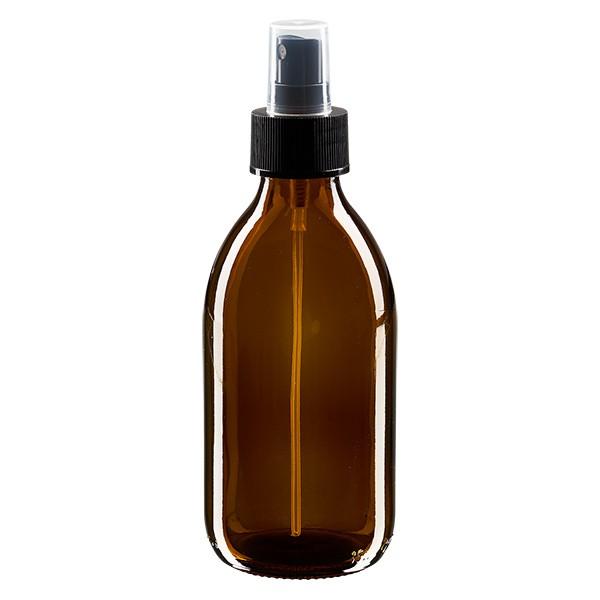 Flacon médical norme européenne de 250 ml avec spray noir GCMI 28/410 et couvercle transparent, standard