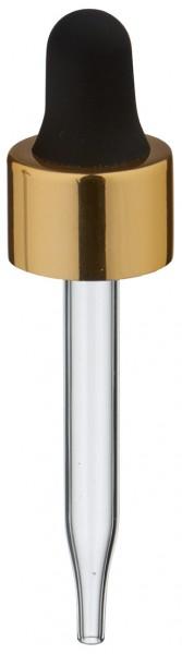 Pipette en verre UNiTWIST doré/noir 13mm PL48