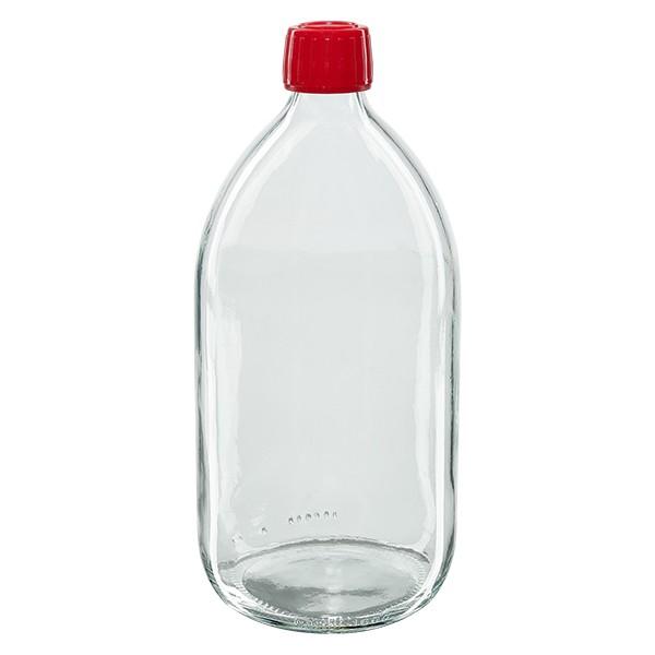 Flacon médical 1000 ml couleur claire avec bouchon rouge