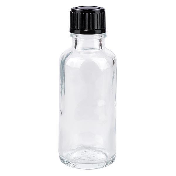 Flacon pharmaceutique clair 30 ml bouchon compte-gouttes 1 mm noir standard