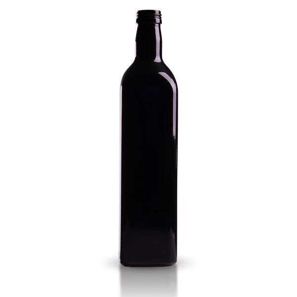 Oelflasche Violettglas eckig 750 ml
