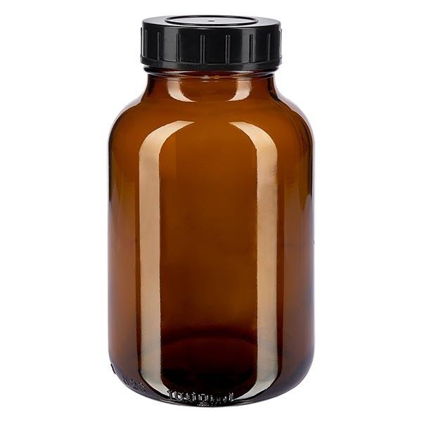 Bocal à col large en verre ambré 1000 ml + couvercle à vis