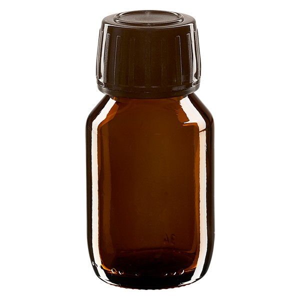 Flacon médical 50 ml couleur ambrée avec bouchon brun