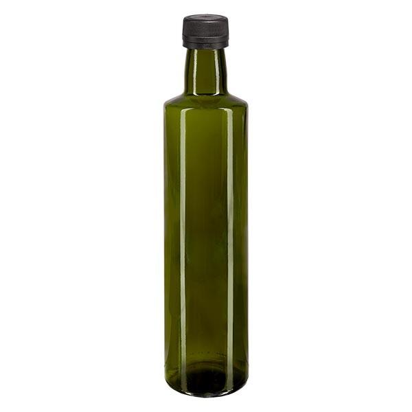 Bouteille d'huile 500 ml ronde, vert olive, avec capsule à vis noire (PP 31,5 mm), bague anti-gouttes et système d'inviolabilité