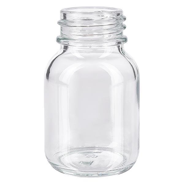 Bocal à col large en verre clair 50 ml, goulot DIN 32, sans couvercle