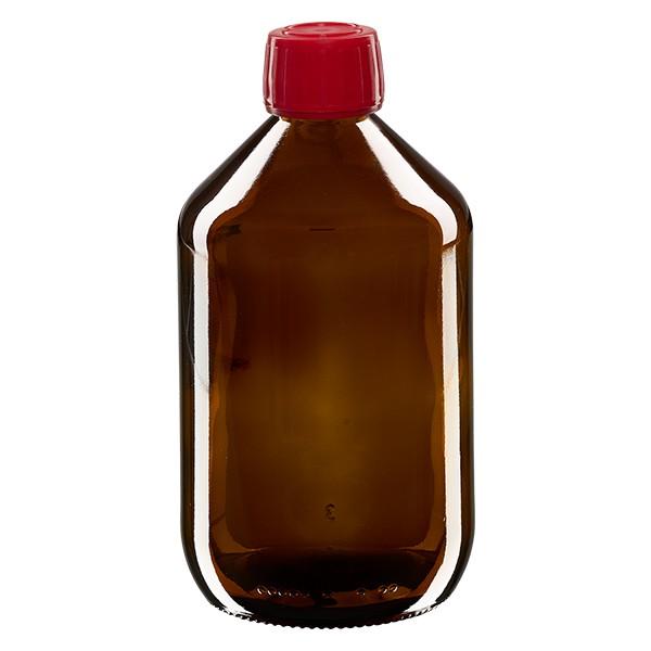 Flacon médical 500 ml couleur ambrée avec bouchon rouge