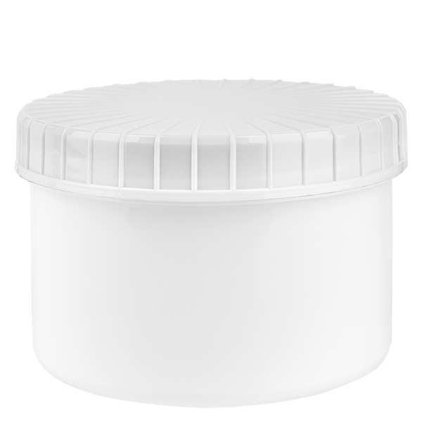 Pot en plastique blanc 250 ml + couvercle à vis blanc strié en PE, fermeture standard
