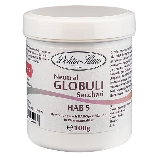 100g globules neutres HAB5, 100 % pure saccharose
