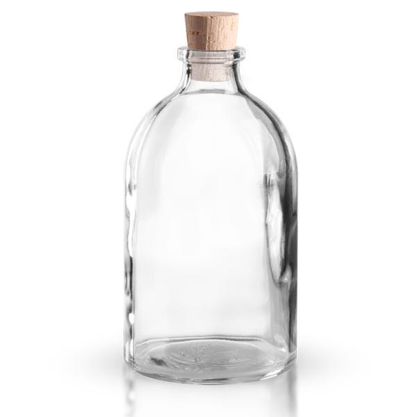flacon en verre clair 100 ml avec bouchon de li ge 11 14 mm flacons 5 100 ml au goulot de 12. Black Bedroom Furniture Sets. Home Design Ideas